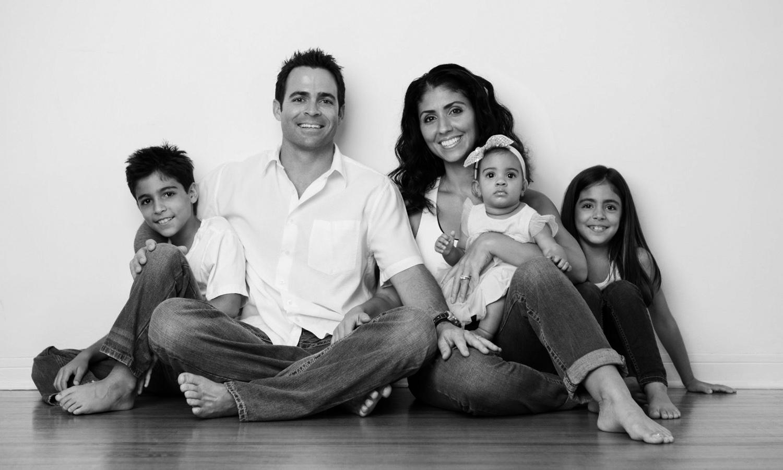 Portrait of Hispanic family at home